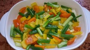 Zitronenseelachs, das Gemüse