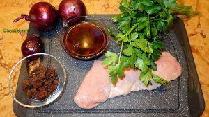 Alle Zutaten für Die Zwiebel für Kalbsschnitzel in Granatapfelsoße