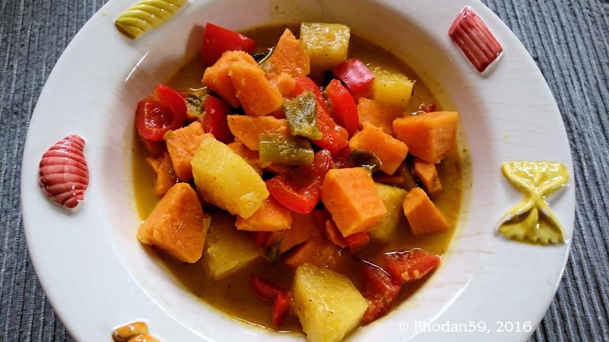 Süßkartoffel Ananas Paprika Eintopf