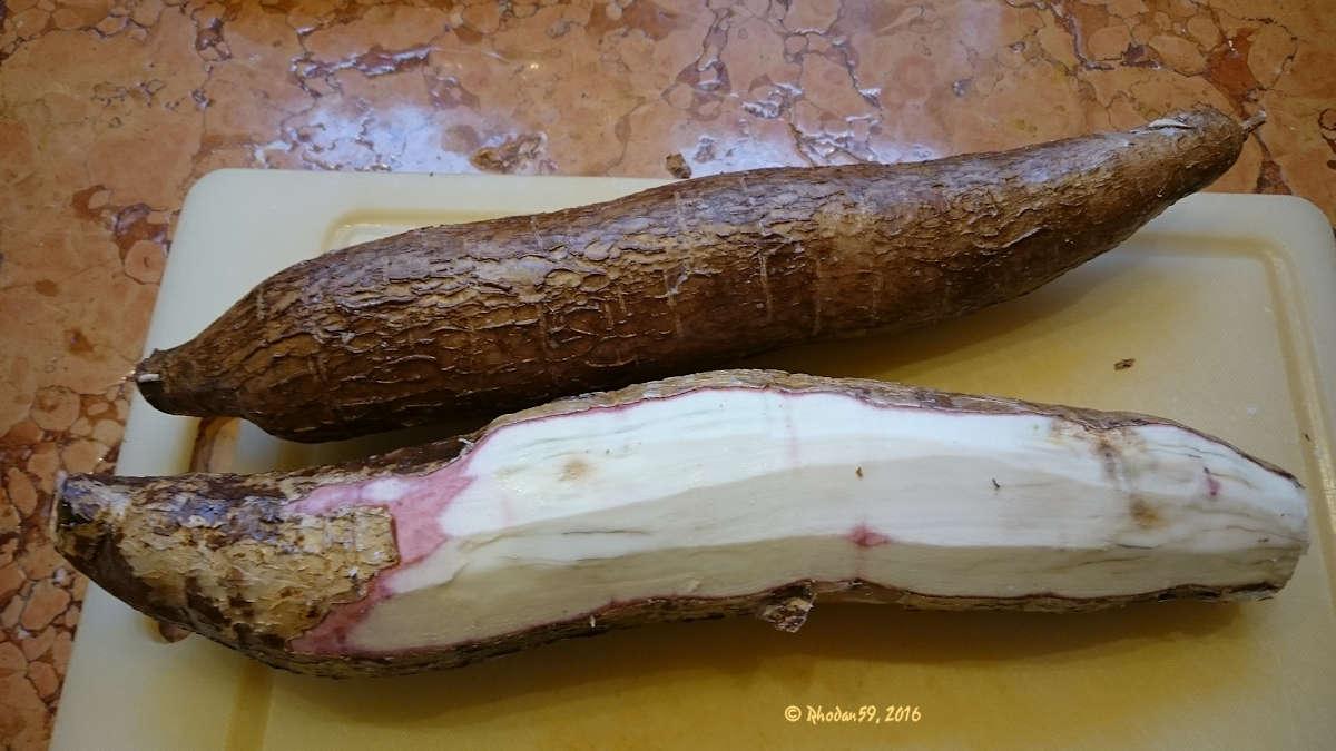 Maniok die Wurzel ungeschaelt und geschaelt